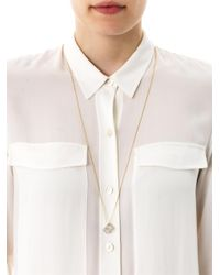 Noor Fares | White Diamond and Yellow Gold Cube Necklace | Lyst