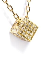 Noor Fares - White Diamond Gold Cube Pendant - Lyst