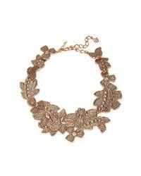 Oscar de la Renta Metallic Antique Lace Bib Necklace