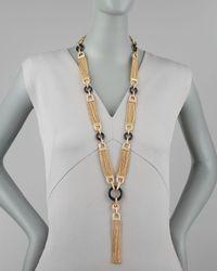 Rachel Zoe - Metallic Chain Tassel Necklace - Lyst