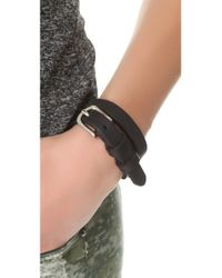 Rag & Bone - Black Moto Wrap Bracelet - Lyst