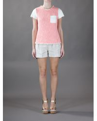 Rebecca Taylor Pink Tweed and Leather Tshirt