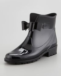 RED Valentino Black Short Rain Boot with Bow