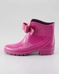 RED Valentino Pink Bowfront Short Rain Boot Raspberry