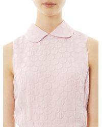 Rochas | Pink Dot Texture Collar Detail Dress | Lyst