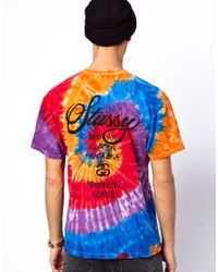 KR3W Orange Stussy Tshirt Tie Dye World Tour for men
