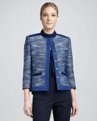 T Tahari Blue Ruby Tweed Jacket