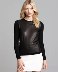 Theory | Black Combo Sweater Yulia L Cashwool Leather | Lyst