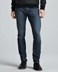 Theory Blue Raffi Slim Jeans Washed Indigo for men