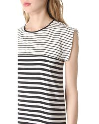 Tibi Black Claire Stripe Easy Dress