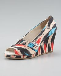 TOMS | Black Ikat-print Peep-toe Wedge | Lyst