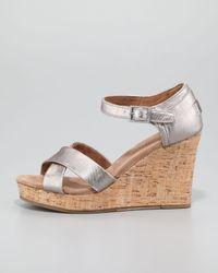 TOMS Metallic Cork Wedge Sandal Pewter