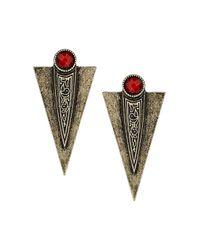 TOPSHOP Red Arrow Stud Earrings