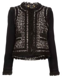 Tory Burch | Black Sairy Wool-blend Tweed Jacket | Lyst