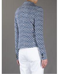 Tory Burch Blue Printed Blazer