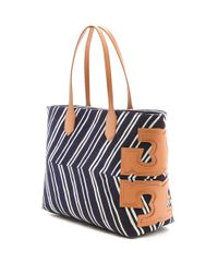 Tory Burch Blue Stacked T East West Tote