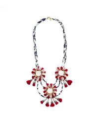 Tory Burch - Red Multi Strand Puka Shell with Mirror Necklace - Lyst