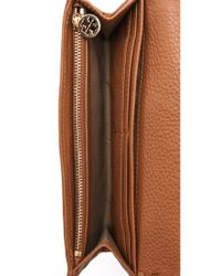 Tory Burch Brown Marion Envelope Continental Wallet