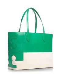 Tory Burch Green Stacked T Tote