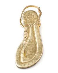 Tory Burch - Metallic Emmy Flat Thong Sandals - Lyst