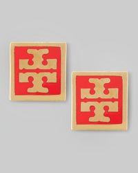 Tory Burch - Metallic Enamel Square Logo Stud Earrings Red - Lyst