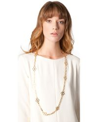 Tory Burch - Metallic Large Clover Necklace - Lyst