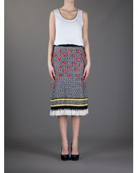 Tory Burch Blue Knitted Fringed Skirt