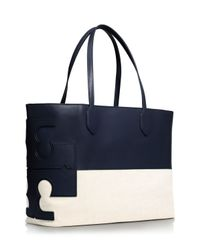 Tory Burch Blue Stacked T Tote
