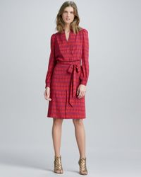 Tory Burch Red Judi Printed Tiewaist Dress