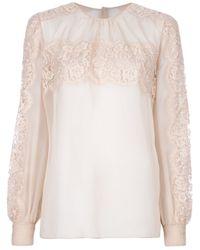 Valentino Natural Lace Long Sleeve Blouse
