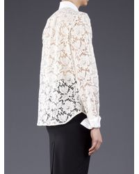Valentino White Textured Lace Blouse