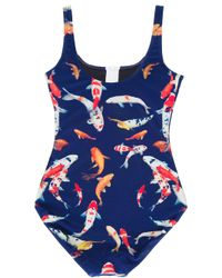 We Are Handsome Blue Fish Print Swim Suit