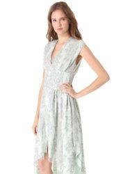 wes gordon handkerchief corset dress in white  lyst