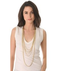 Wouters & Hendrix Metallic 8 Strand Gold Chain Layered Necklace