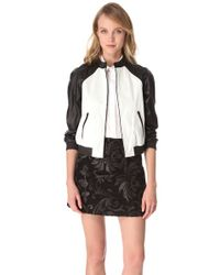 Alice + Olivia Black Alice Olivia Raglan Sleeve Leather Jacket