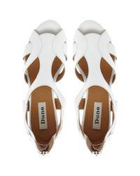 Dune White Gemah Cutout Wedged Sandals