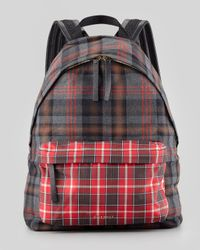 Givenchy Mens Plaid Backpack Red for men