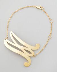 Jennifer Zeuner Metallic Swirly Initial Bracelet