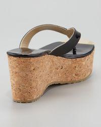 Jimmy Choo - Pathos Patent Leather Cork Thong Sandal Black - Lyst