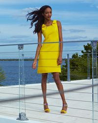 Michael Kors | Yellow Zip-Shoulder Crepe Dress | Lyst