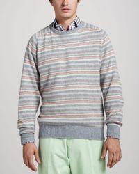 Peter Millar - Gray Striped Raglan Sweater for Men - Lyst