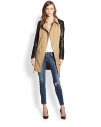 Rebecca Minkoff Natural Leather-sleeved Cotton Trench coat