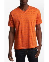 Robert Graham | Orange Cusp Stripe V-neck T-shirt for Men | Lyst