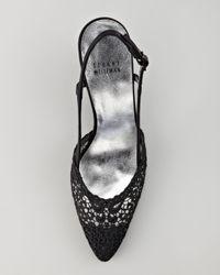 Stuart Weitzman Black Lace Slingback