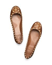 Tory Burch - Brown Dale Studded Ballet Flat - Lyst