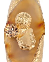 Saint Laurent Metallic Chyc Agate and Crystal Ring