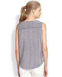 Joie Blue Tyson Silk Striped Waist-tie Shirt