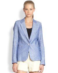 Joie Blue Mehira Linen Chambray Blazer