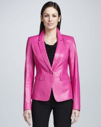 Lafayette 148 New York Pink Onebutton Leather Jacket
