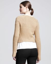 Reed Krakoff Natural Shrunken Zip Shearling and Alpaca Fur Cardigan